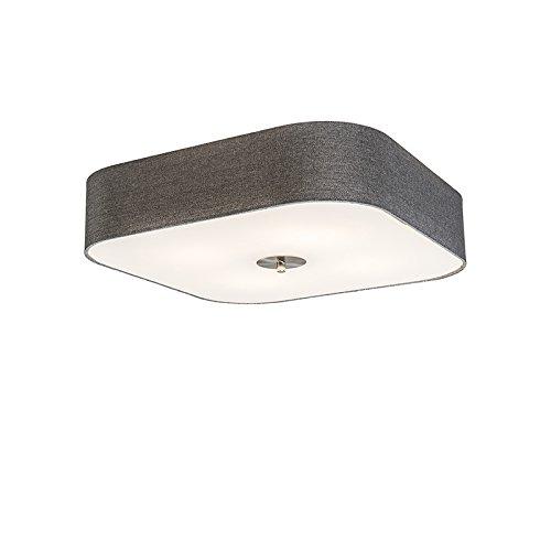 QAZQA Landhaus/Vintage/Rustikal/Modern Deckenleuchte/Deckenlampe/Lampe/Leuchte Drum mit Schirm deluxe 50 quadratisch Jute grau/ 4-flammig/Innenbeleuchtung/Wohnzimmerlampe/Schlafzimmer