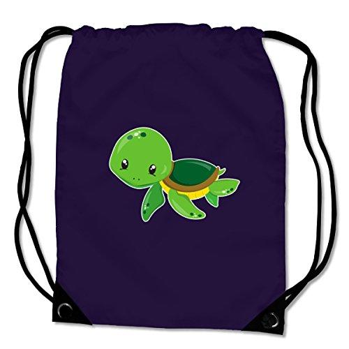 Turnbeutel Baby Schildkröte Sportbeutel für Schule Sport Sporttasche Bag Base® BG10 Gymsac 45x34cm violett/farbiger Aufdruck