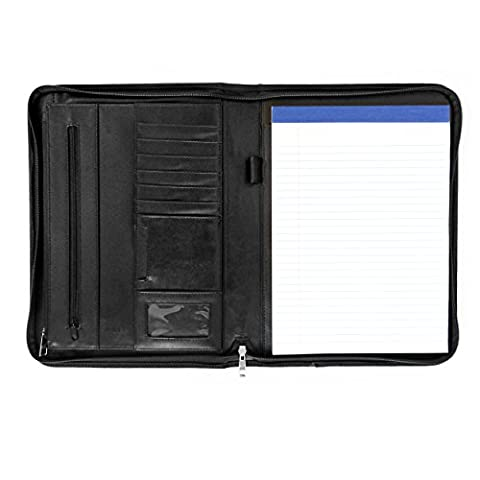 Tablet-ready Executive Padfolio by Walden Co. | Slim leather briefcase with A4 clipboard, zipped folders & smooth handle. Protects iPad, Galaxy Tab & Surface Pro in anti-shock pocket. Bonus: notepad!