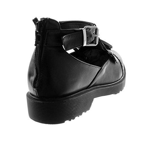 574d1709c166e7 ... Angkorly Mode Chaussures Bottines Open Femmes Bottes Cloutées Fringe  Pon Pon Block Talon 3.5 Cm Noir