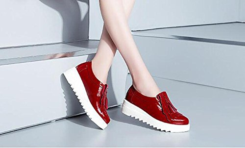 Beauqueen 2017 Fashion PU Upper Elevator Heel Lace-up Platform Round-Toe Casual Work Shoes EU Taille 34-39 Red