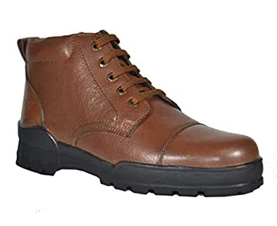 Tsf Men's Formal Police Tan Leather Lace Up Boot (43)