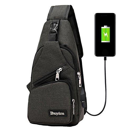 Zeafin Sling bag con porta di ricarica USB Crossbody tela petto borsa per uomo donna Leggero escursionismo viaggio zaino Zaino, Purple, Taglia unica Black