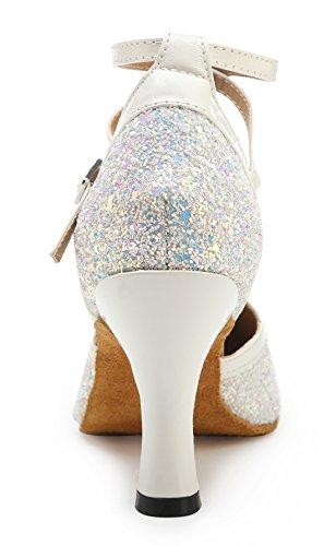 TDA ,  Damen Durchgängies Plateau Sandalen mit Keilabsatz 7.5cm White