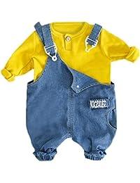 Conjunto de Trajes Pantalones Ropa de Vaquero Camiseta Tops Pantalones en Toddler Baby Boys Girls Solid Pascua Ropa de Niños 3 años