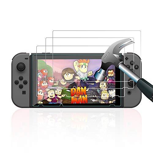 Schutzfolie für Nintendo Switch ,【3 Stück】 Pomisty Nintendo Switch Schutzfolie Panzerglas,Glas Folie Anti Kratzer HD Displayschutzfolie Gehärtetem Glas (Nintendo Switch Schutzfolie)