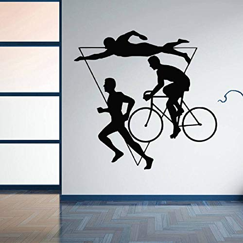 WWYJN Home Decor Sport Triathlon Vinyl Wall Sticker Multiple-Stage Athletic Competition Wall Decal Swim Bicycle Running Murals red 42x41cm