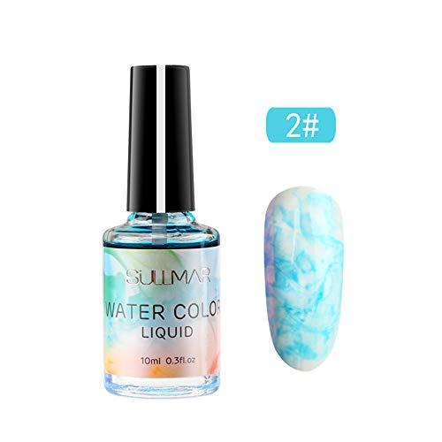 Nagellack Aquarell Marmor Nageltinte Blühendes Nagelgel Rot Lila Blau Nail Art Lack DIY Design (12 colors) Watopi