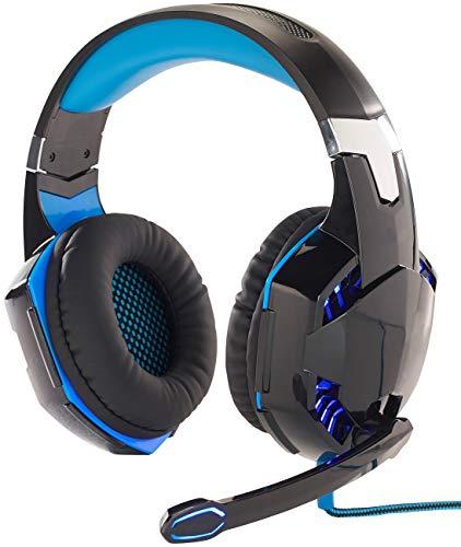 Mod-It Headset PS4: Beleuchtetes Gaming-USB-Headset mit 7.1-Sound und Kabelfernbedienung (Headset PC)