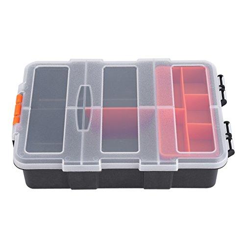 Kunststoff schwere Werkzeug Aufbewahrungsbox Organizer 11Slots Zweischichtige Komponenten Aufbewahrungstasche, Schwarz und Orange - Storage-komponenten