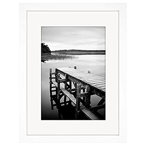 30cm x 40cm White Picture Frame with Glass Front - Made to Display Pictures Sized 20cm x 30cm with Mat and 30cm x 40cm without Mat - Hanging Hardware Included