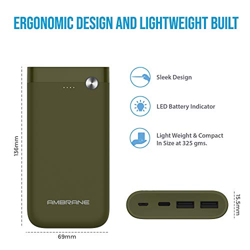 Ambrane PP-150 15000mAH Lithium Polymer Power Bank (Olive Inexperienced) Image 4