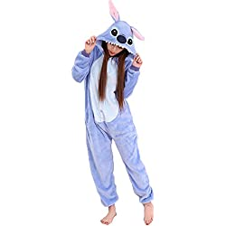 JunYito Pijama Pikachu Animale Disfraz Stitch Traje Niños Niña Adulto Mujer Invierno Kigurumi Unicornio Cosplay Halloween y Navidad (L, Stitch Adultos)