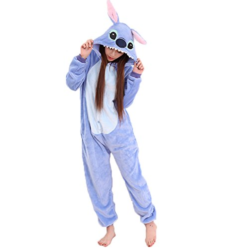 JunYito® Pyjamas Pikachu Stich Kinder Erwachsene Einhorn Pokemon Kostüme Schlafanzug (Stich Erwachsene, L)