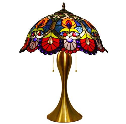 YZSL Tiffany Stil Tischlampe 12 Zoll Pfau Schwanz Muster Glasmalerei Lampenschirm Zinklegierung Basis traditionelle Nachttisch Lampe geeignet für Schlafzimmer Wohnzimmer (Traditionellen Nachttisch)