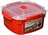 Sistema Microwave Medium Steamer with Removable Steamer Basket, 2.4 L - Red/Clear