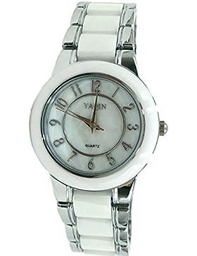 ukfw973a Neue Runde PNP glänzend Silber Watchcase Boy Girl Keramik Watch Fashion Watch