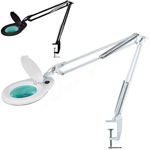 Lente d\'Ingrandimento Smart 5 DIOTTRIE con 90 LED A Luce Fredda E Morsetto - Lampada per Estetista ESTETICA Laboratorio E LAVORI di PRECISIONE - Ingrandimento 5X - Bianco