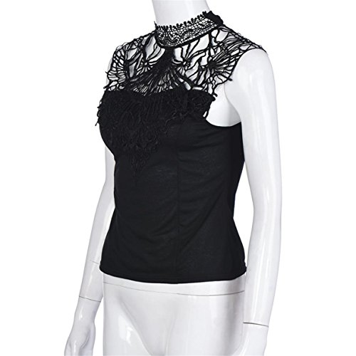 CYBERRY.M T-shirt Été Casual Femme Sans Manches Dentelle Col Rond Dos Nu Tee Top Noir
