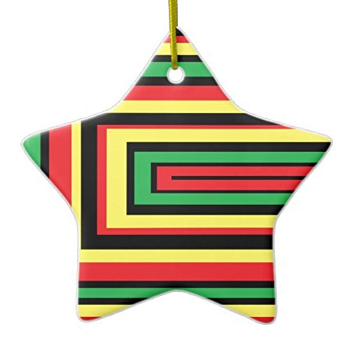 Christmas Ornaments Holiday Tree Ornament JAMAICA Rasta Roots Colors Both Sides Star Ceramic Ornament Crafts Christmas Gifts -