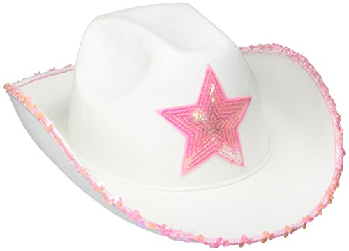 Rhode Island Novelty HACOWWP White Felt Cowgirl Hat with Pink Star