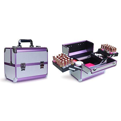 HUATINGRHBO Professionelle Make-up-Veranstalter Nagellack Schmuck Kosmetikbox Beauty Vanity Case (Größe: 31,5 cm × 21 cm × 26,5 cm), Purple (Nagellack Case Handy)