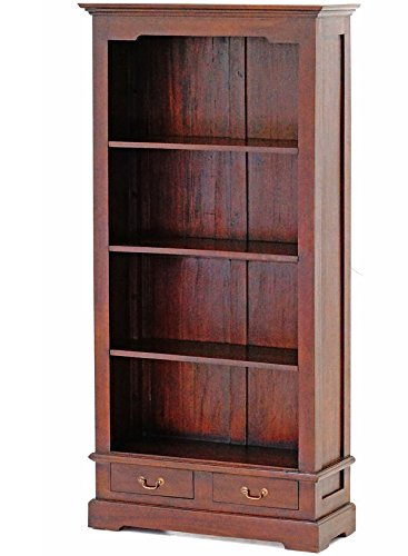 Moreko Bücherregal Massivholz Mahagoni Standregal Antik-Stil 180cm -