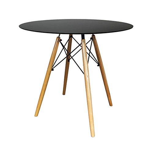 IHANA HOME runder Esstisch - moderne Innenmöbel - für Wohnzimmer, Küche, Büro, Bistro, Kaffee und Tee - verschiedene Stühle erhältlich (schwarzer runder Tisch 80cm) -