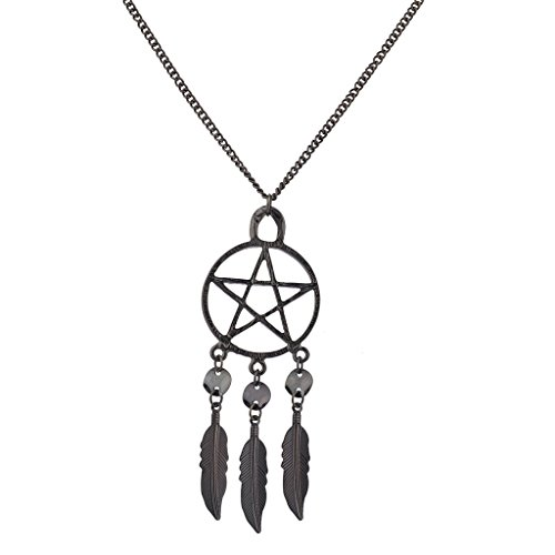 lux-accessories-hematite-punk-pentagram-dream-catcher-feather-pendant-necklace