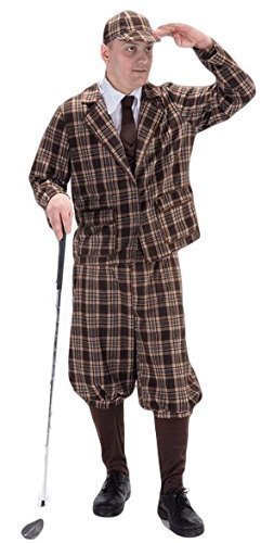 Herren Kostüm Golfer 5 Teile 1930er Golfer Pup Golf Sport Verkleidung (Für Kostüm Herren Golf)