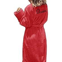 Juleya Bata de Toalla para Mujer Toalla con Cuello de Chal Albornoz Bata de baño Impreso