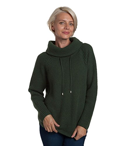 WoolOvers Womens Lambswool Roll Neck Side Button Jumper Tweed Green, XL