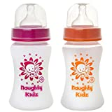 #4: NAUGHTY KIDZ Premium Natural Wide Neck Feeding BOTTLE-250ML+250ML-COMBO of 2 BOOTLES (PINK-250ML+ORANGE-250ML)