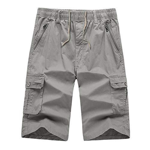 Silber Baggy Shorts (Wadenlange Hosen Herren Sommer Mode Baumwolle Casuale Gargo Hosen GewaschenHosen Short Jogginghosen Freizeithosen Strumpfhosen Silber XXL)