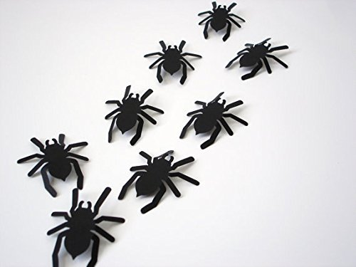 Come 2 Buy - Pack of 20/40/100pcs Approx. 3D Cardboard Paper Spider Matt Effect Wall Decoration Stickers Art Crafts Decal Spiders Halloween DIY Fancy Party Decor Mural Complete With Double-Sided Adhesive Tape - 40pcs Black (Halloween Crafts Spider)