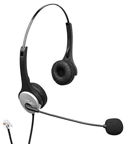 4appel h502cmb Call Center Binaural Casque téléphonique RJ11avec micro + suppression du bruit pour Plantronics M10Adaptateur M22Vista et téléphones IP Cisco Bureau Bureau 79759971ligne fixe