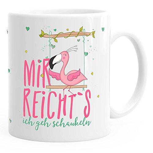 MoonWorks Kaffee-Tasse Flamingo Mir reichts ich GEH schaukeln Sprüche Spruch weiß-pink Unisize