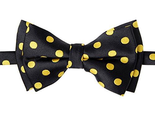 Retreez–pajarita preatada de lunares, Tejido de microfibra amarillo Black with Yellow Dots 24 Meses - 4 Años