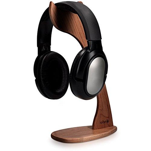 kalibri Kopfhörerhalter Kopfhörerständer Universal aus Holz - Kopfhörer Halter Gaming Headset Halterung - On Ear Headphone Stand - in Walnussholz