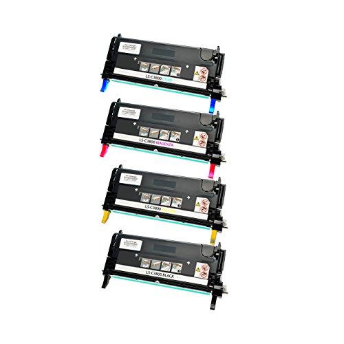 4 Toner für Epson C3800 1-1-1-1 - BK, 9500 Seiten,Color je 9000 Seiten ,kompatibel