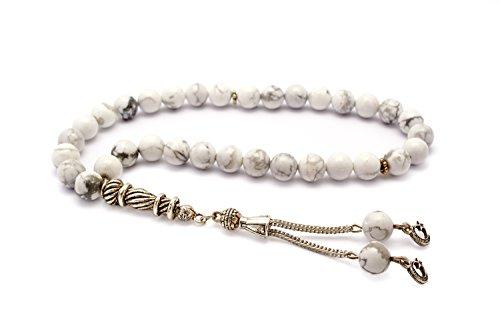 Hochwertige Gebetskette - Tesbih Tasbih 33 Perlen Mond & Stern Anhänger - Marmor Weiss