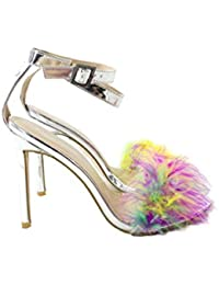 6d51fb8972 Scarpe Estive da Donna Modello Sandalo Alto in Pelle Argento A Specchio con  Applicazione Piume Multicolor