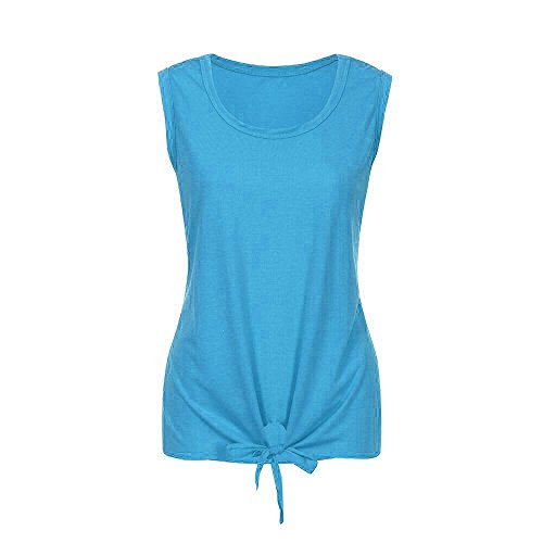 n Chiffon Stitching Lace V Ausschnitt äRmelloses Shirt Tops Bluse Womens (XL, X-Blau) ()