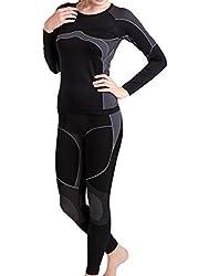 Damen Ski-, Thermo- & Funktionswäsche Set seamless Schwarz/Grau - L/XL
