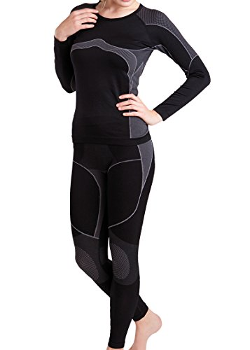 Damen Ski-, Thermo- & Funktionswäsche Set (Hemd + Hose) ohne störende Nähte von celodoro Schwarz / Grau Größe S / M (Ski-thermo-unterwäsche)