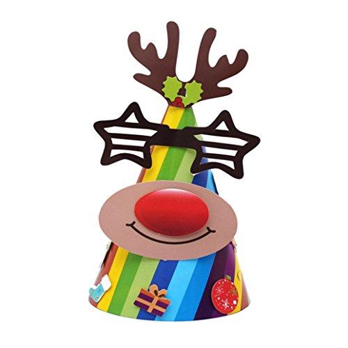 Weihnachten Geschenke Papier Mütze, wuayi Urlaub Sterne drucken Xmas Cap für Santa Claus - Elmo Für Baby-jungen Kleider