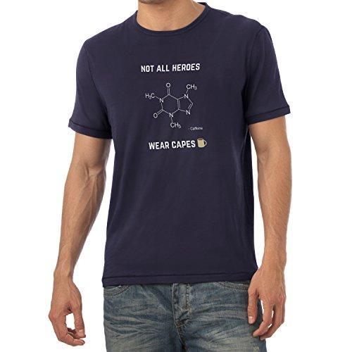 NERDO - Koffein - Not all Heroes wear Capes - Herren T-Shirt, Größe M, navy
