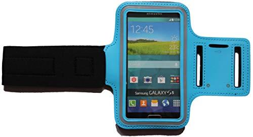 Sport Armband Schweißfest Schutztasche für Samsung Galaxy J5 (2017) Fitness Handyhülle Armtasche mit Kopfhöreranschluss, Laufen, Blank M Hell-Blau