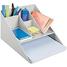 mDesign Bandeja de escritorio de plástico – Organizador de oficina con 5 compartimentos pequeños y 1 grande – Organizador de papeles para oficina y escritorio – gris claro