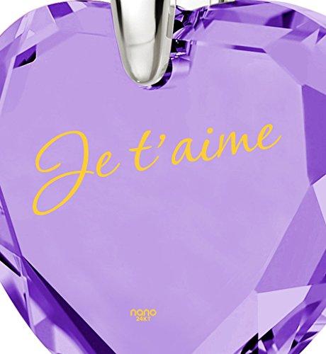 Pendentif Coeur - Bijoux Romantique en Argent fin avec Je t'aime inscrit en Or 24ct sur un Zircon Cubique en Forme de Coeur, 45cm - Bijoux Nano Violet Clair